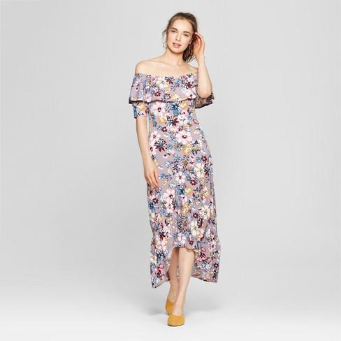 65e78f73a49a Women s Floral Print Off the Shoulder Ruffle Maxi Dress - Love   First  Sight (Juniors ) Gray