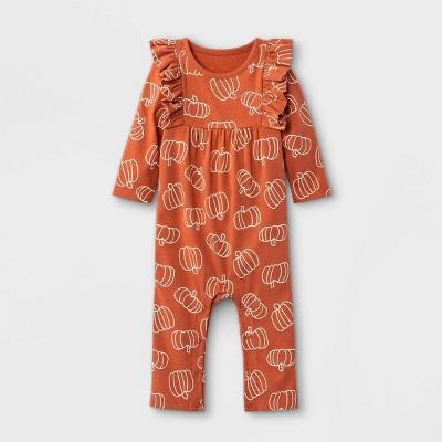 Baby Girls' Pumpkin Long Sleeve Romper - Cat & Jack™ Terracotta