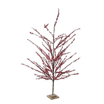 """Northlight 59"""" Unlit Artificial Christmas Tree Festive Red Berries"""
