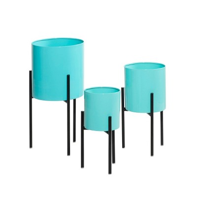 Set of 3 Contemporary Metal Planters Teal - Olivia & May