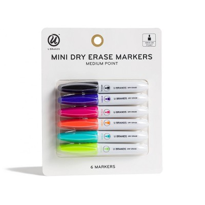 6ct Mini Dry Erase Markers - Fashion Colors - U-Brands