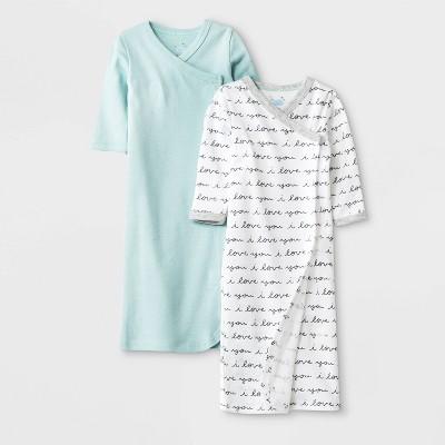 Baby 2pk Llama Love Nightgowns Pajama Set - Cloud Island™ Preemie