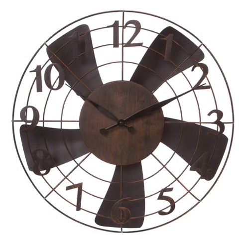20 Vintage Metal Fan Wall Clock Black Patton Decor