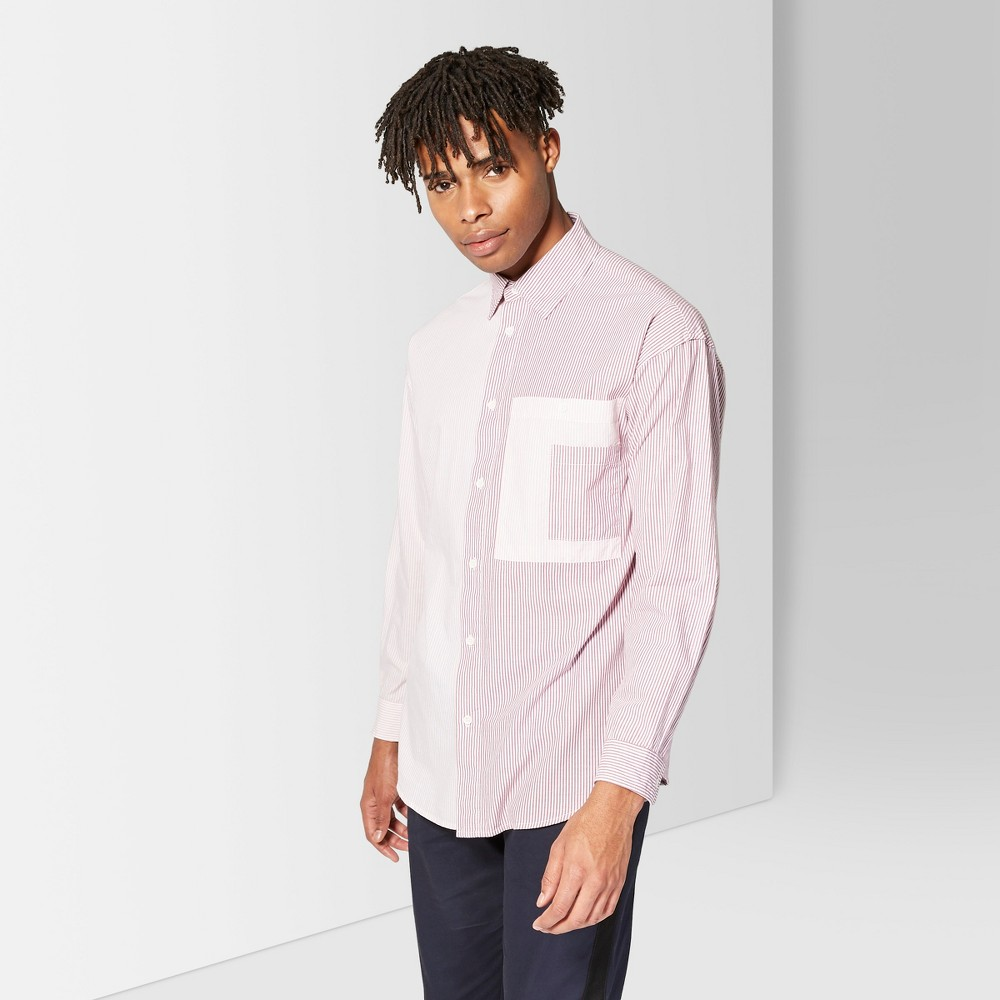 Men's Striped Casual Fit Long Sleeve Button-Down Shirt - Original Use Sugar N' Spice L, Pink