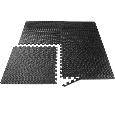 Puzzle Exercise Mat 1in Extra Thick with EVA Foam Interlocking Tiles for MMA, Exercise, Gymnastics and Home Gym Protective Flooring, Black - 4 Pack