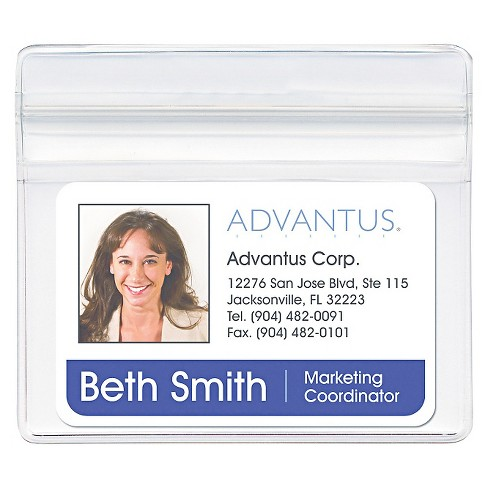 Advantus® Resealable ID Badge Holder, Horizontal, 3 3/4w x 2 5/8h, Clear, 50/Pack - image 1 of 1