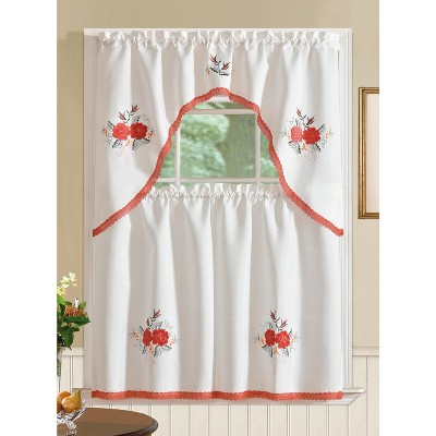 Ramallah Trading Regal Embroidered Flower Kitchen Curtain Set - 60 x 36, Red