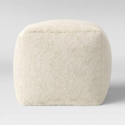 Sherpa Ottoman Pouf Cream - Room Essentials™