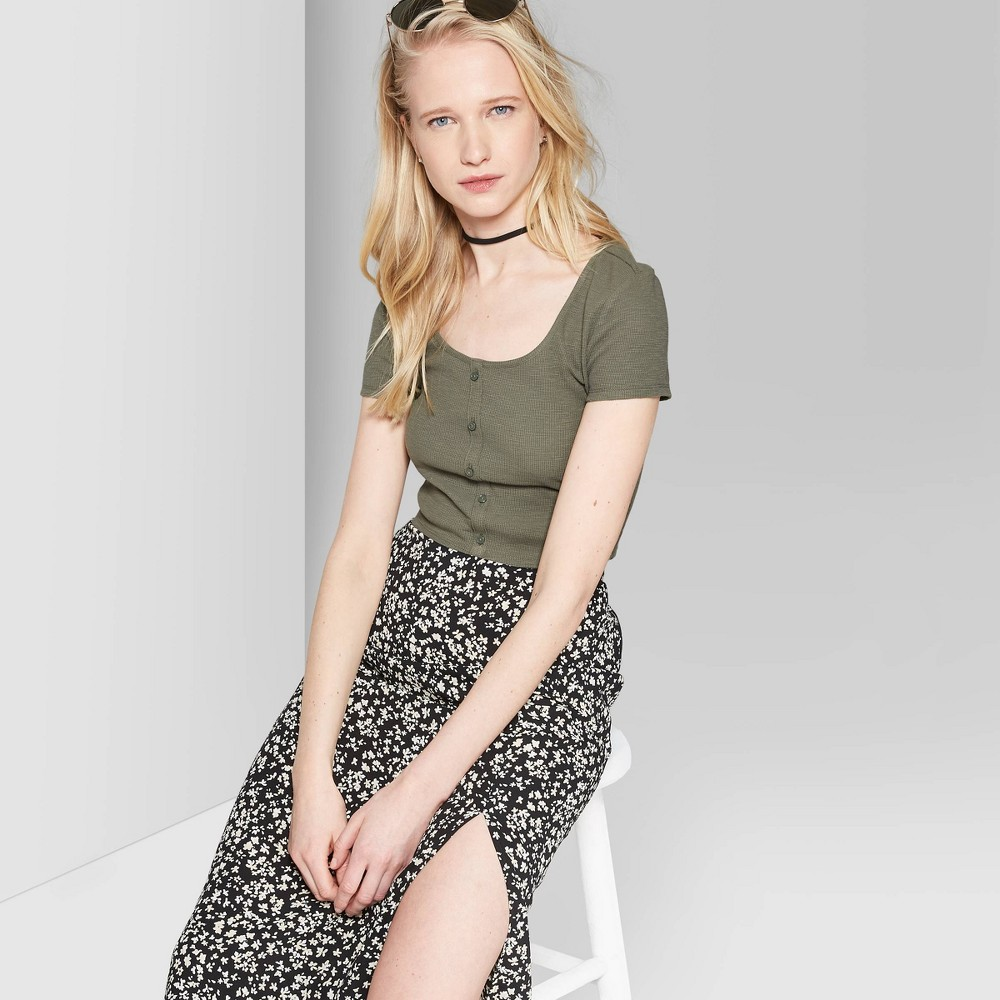 Women's Short Sleeve Scoop Neck Button Front Waffle T-Shirt - Wild Fable Olive S, Green