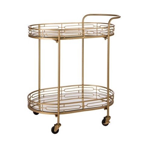 Deluxe Metal Oval Mirrored Bar Cart Gold - Glitzhome - image 1 of 8