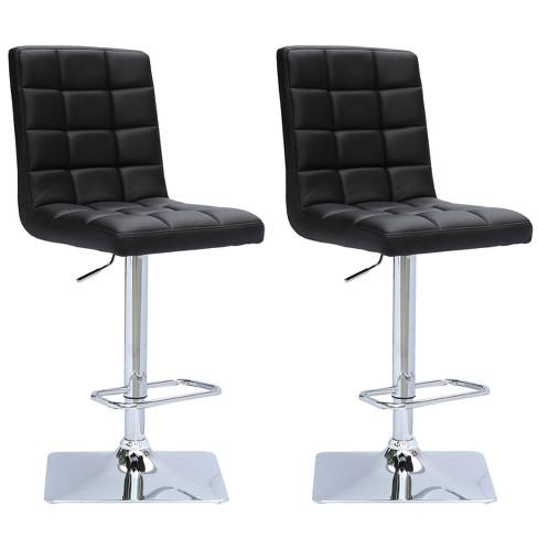 Adjustable Square Tufted Bonded Leather Barstool - (Set of 2) - Corliving - image 1 of 4