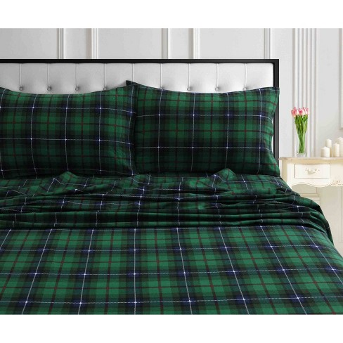 Twin Xl Printed Pattern Extra Deep Pocket Heavyweight Flannel Sheet Set Green Plaid Tribeca Living Target