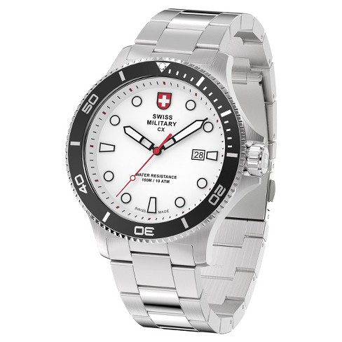 Men's Swiss Military by Charmex Diving silver tone steel band watch - Silver - image 1 of 2