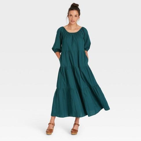 Women's Puff 3/4 Sleeve Tiered Dress - Universal Thread™ - image 1 of 3
