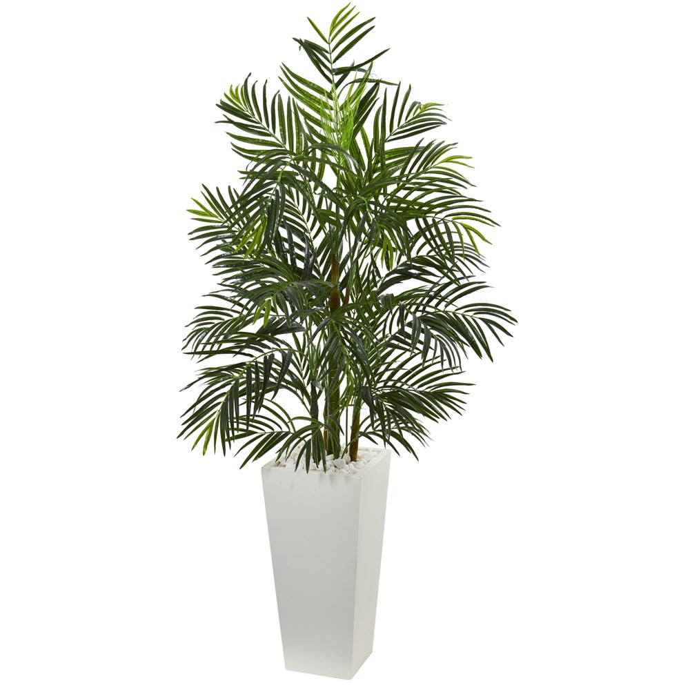 5ft Areca Artificial Palm Tree In White Planter - Nearly Natural, Green
