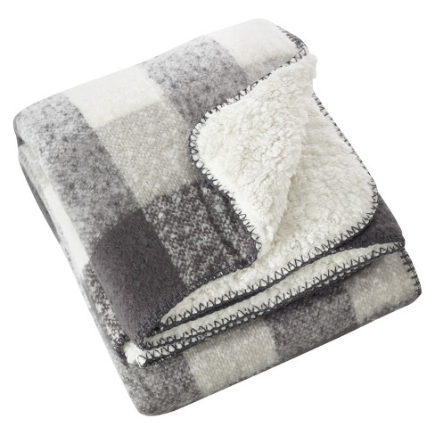 "50""x60"" Faux Mohair Design Sherpa Throw Blankets Gray - Saro Lifestyle - image 1 of 3"