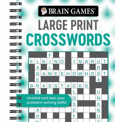 Brain Games - Large Print Crosswords (Swirls) - (Brain Games Large Print) (Spiral Bound)