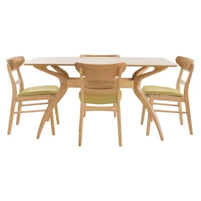 Idalia 60  5pc Dining Set - Green Tea/Natural Oak - Christopher Knight Home