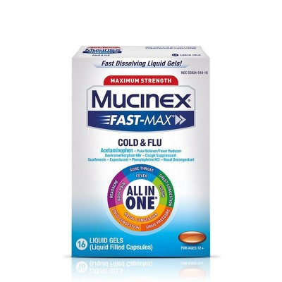 Mucinex Fast-Max Cold & Flu Relief Liquid Gels - Acetaminophen - 16ct
