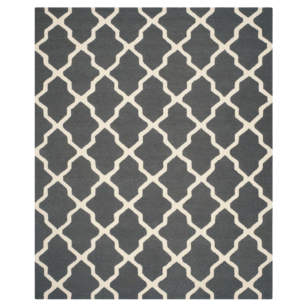 Geometric Area Rug Dark Gray/Ivory