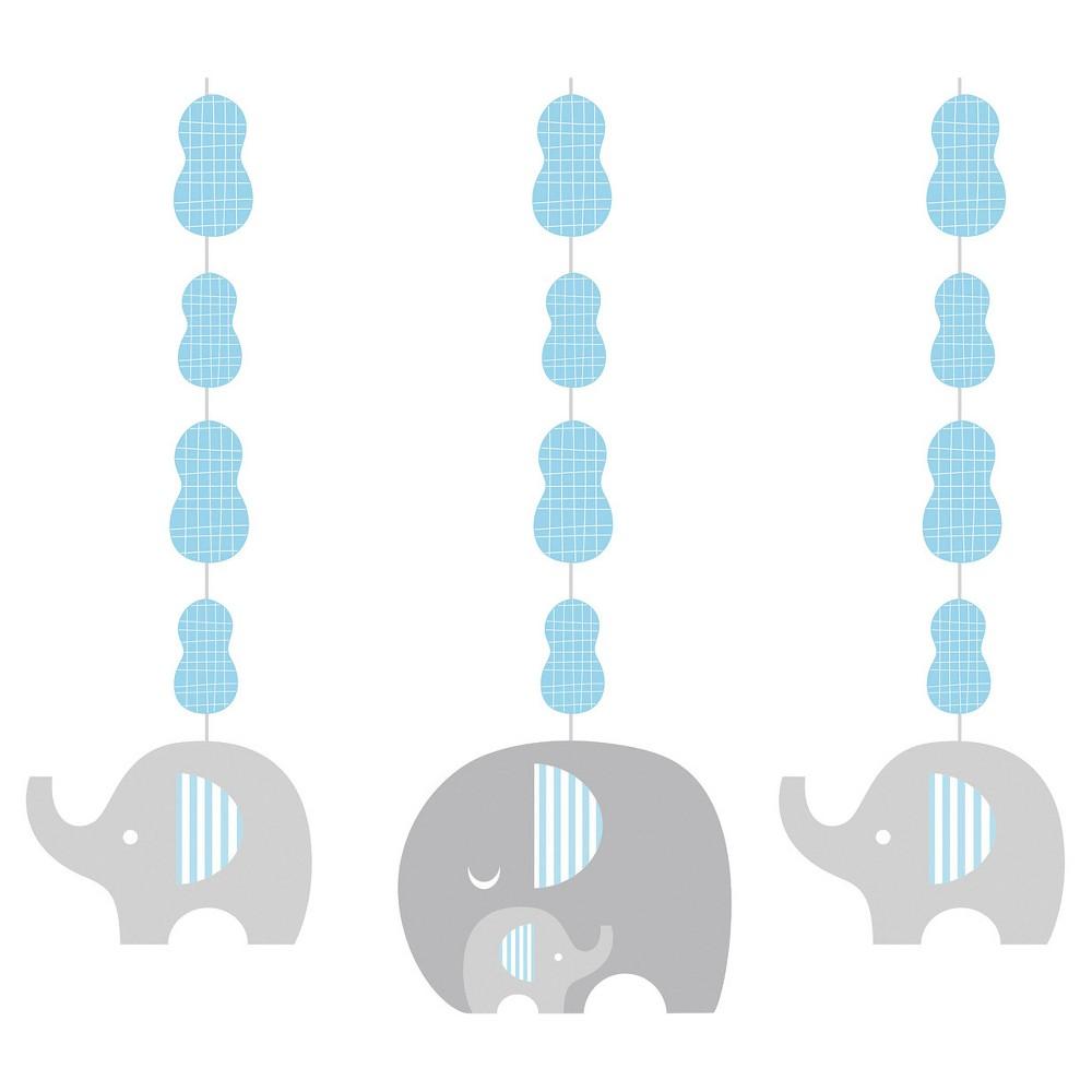 3ct Little Peanut Boy Elephant Hanging Cutouts, Blue