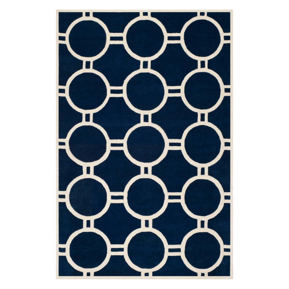 8'9X12' Geometric Tufted Area Rug Dark Blue/Ivory - Safavieh