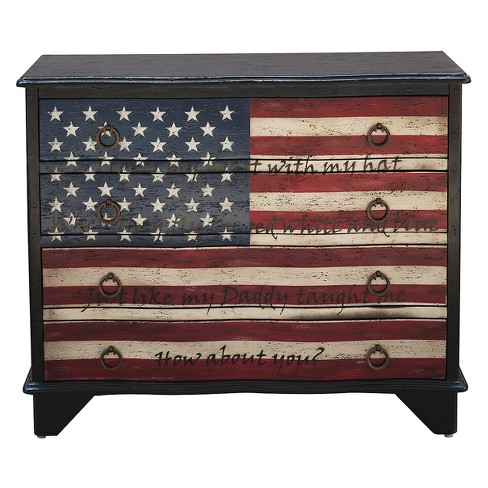 Traditional Styled American Flag Four Drawer Accent Storage Chest