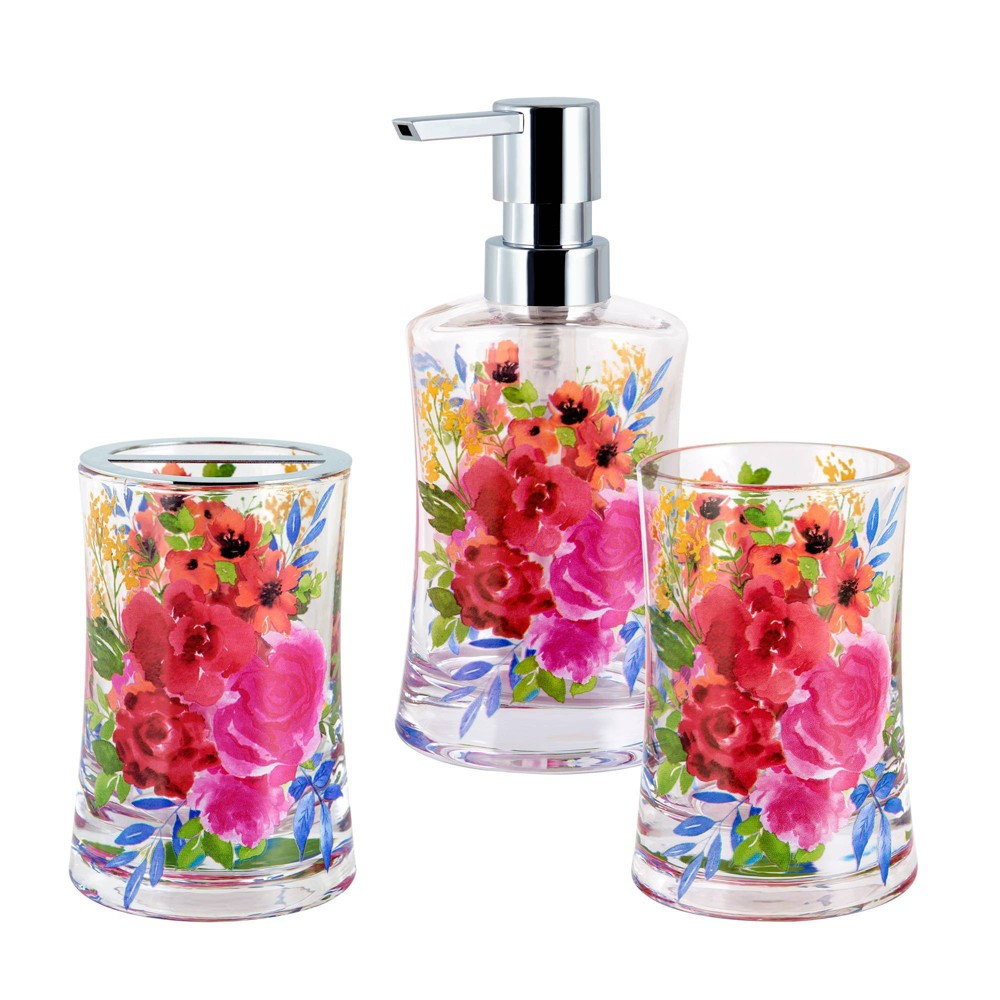 Image of 3pc Lotion Pump, Toothbrush Holder, Tumbler Floral Burst - Allure