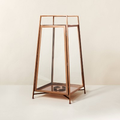 Large Raised Metal & Glass Pillar Candle Lantern Copper - Hearth & Hand™ with Magnolia