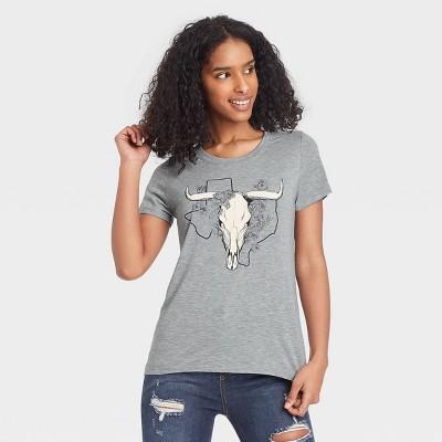 Women's Short Sleeve Longhorn Graphic T-Shirt - Awake Heather Gray