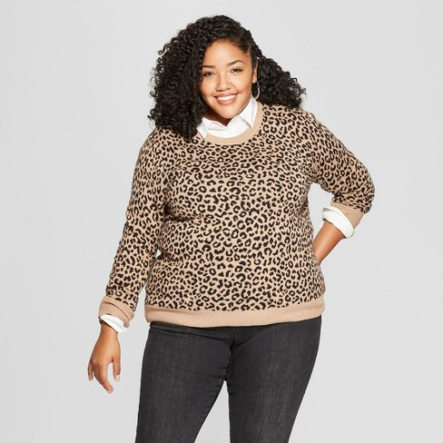 Womens Plus Size Leopard Print Pullover Sweater Target