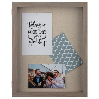 "12"" x 15"" Distressed Shadow Box Gray - Gallery Solutions"