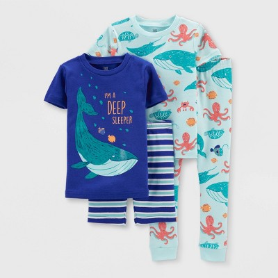 Toddler Boys' 4pc Whale Pajama Set - Just One You® made by carter's Blue