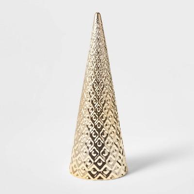 Large Art Deco Ceramic Tree Cone Decorative Figurine Silver - Wondershop™