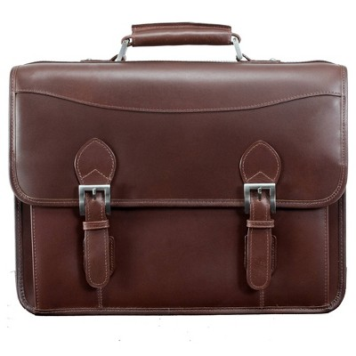 "Siamod Belvedere 15"" Leather Double Compartment Laptop Briefcase (Cognac)"