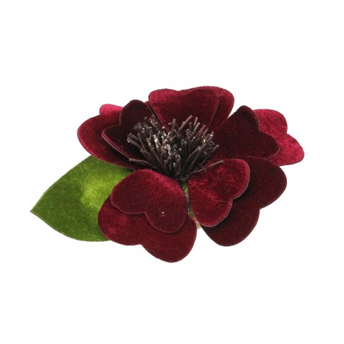 "Northlight 4.75"" Clip-On Red Velveteen Heart Flower with Leaf Christmas Ornament - image 1 of 3"