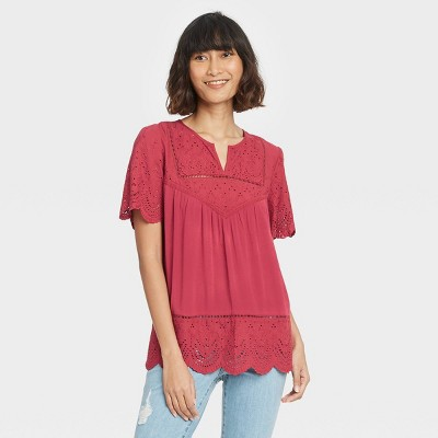 Women's Short Sleeve Eyelet Top - Knox Rose™