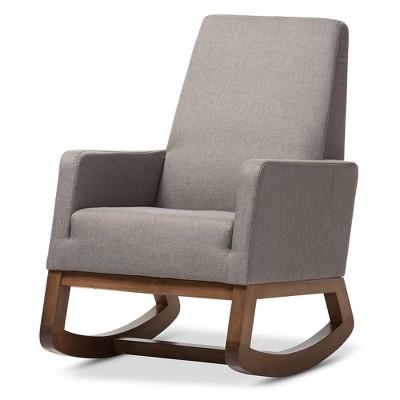 Yashiya Mid   Century Retro Modern Fabric Upholstered Rocking Chair   Gray    Baxton Studio : Target