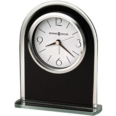 Howard Miller Ebony Luster Table Clock 645-702 – Modern Glass with Quartz, Alarm Movement