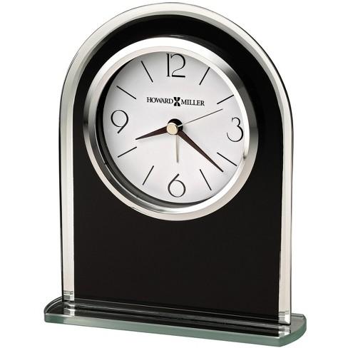 Howard Miller Ebony Luster Table Clock 645-702 – Modern Glass with Quartz, Alarm Movement - image 1 of 1