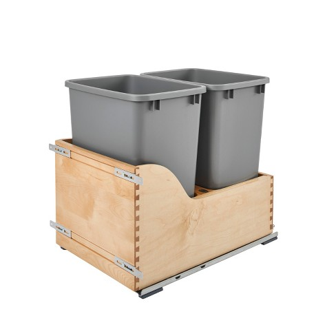 Rev-A-Shelf 4WCSC-1835DM-2 Double 35-Quart Pull Out Waste Trash Container, Grey - image 1 of 4