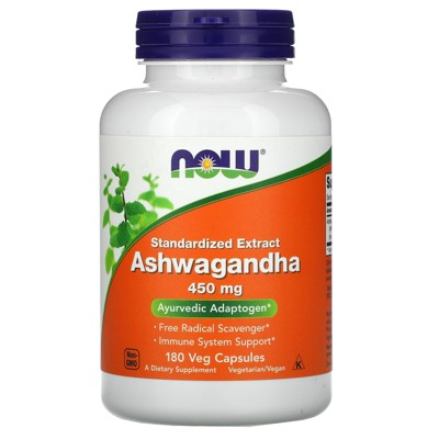 Now Foods Standardized Extract Ashwagandha, 450 mg, 180 Veg Capsules, Herbal Supplements