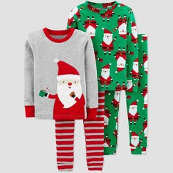 Toddler Boys' 4pc Santa 100% Cotton Pajama Set - Just One You® made by carter's Gray/Green