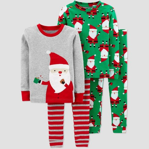 Toddler Boys' 4pc Santa 100% Cotton Pajama Set - Just One You® made by carter's Gray/Green - image 1 of 1