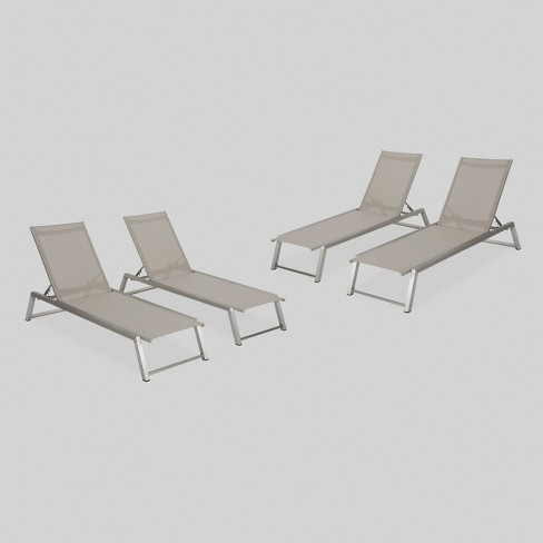 Myers 4pk Aluminum Patio Chaise Lounge - Gray - Christopher Knight Home - image 1 of 6