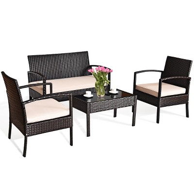 Costway 4PCS Patio Rattan Conversation Furniture Set Cushioned Seat Glass Table