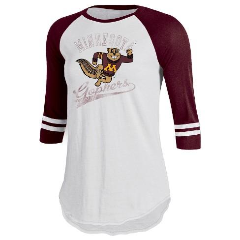 Minnesota Golden Gophers Women's Retro Tailgate White/3/4 Sleeve T-Shirt XL - image 1 of 1