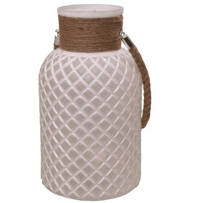 "Northlight 12.25"" Texture Glass Pillar Candle Holder Lantern with Handle - White"