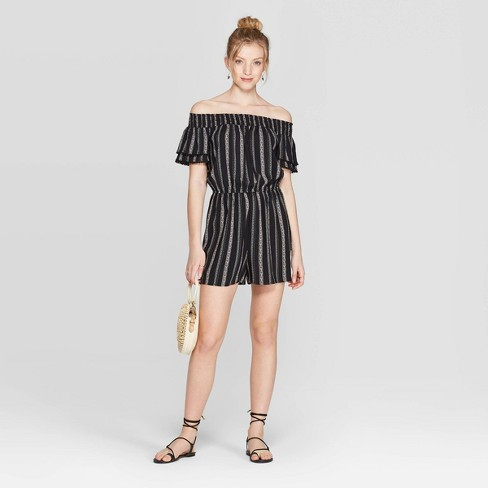 0cd3a5b02fea6 Women's Striped Short Sleeve Off the Shoulder Romper - Xhilaration™  Black/White