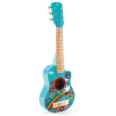 Hape E0600 Flower Power 60s Themed Toddler & Kids Wooden Toy Guitar Musical Instrument for Beginners Ages 3 and Up, Turquoise